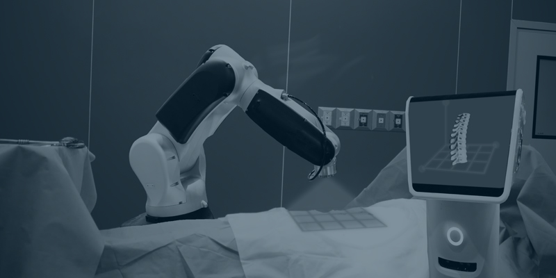 digital rendering of a robotic arm scanning a patient lying on a surgical table